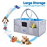 Baby Diaper Caddy Organizer - I-FSK Baby Shower Basket for Boys Grils Travel - Baby Diaper Organizer - caddy Organizer - Gift Bakets Large Portable Car Organizer for Wipes Toy