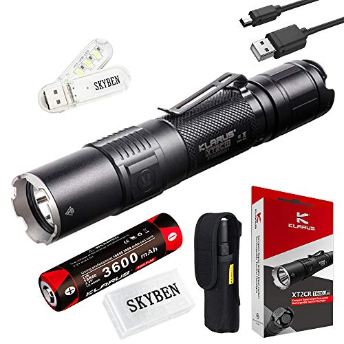 SKYBEN Klarus XT2CR 1600 Lumens CREE XHP35 HD E4 LED Multi-Mode Dual-Switch USB Rechargeable Tactical Flashlight, with 1 x 18650 Battery, Charging Cable,Holster,O-Ring USB Light and Battery Case