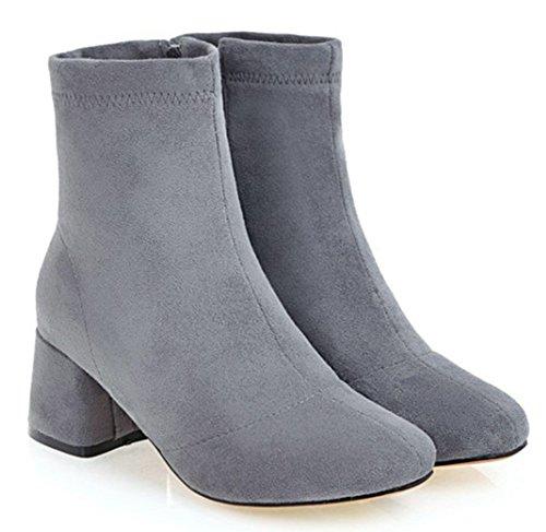 Aisun Womens Simple Habillé À Lintérieur Zip Up Bloc Talon Mi-chaussons Bottines Orteil Cheville Bottes Chaussures Avec Fermeture À Glissière Gris