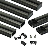 Muzata Black LED Channel System with Crystal Smoke Black Transparent Diffuser Clear Cover Lens,Aluminum Extrusion Track Housing Profile for Strip Tape Light with Video Guide,6Pack 3.3ft/1M U U1BB Series LU1