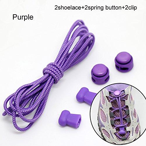 Sneakers violett Binden Keine Schnürsenkel Ersatz Schuhe Stiefel Cleats Elastic oobest für Clips Laufschuh mit fOSxwXOvq