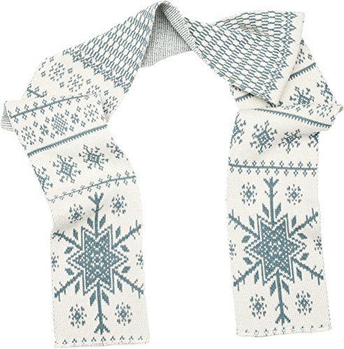Green 3 Winter Holiday Fashion Sweater Knit Scarf (White/Turquoise Nordic Snowflakes) - Womens Recycled Cotton Fashion Scarf, Made in The USA (One Size)