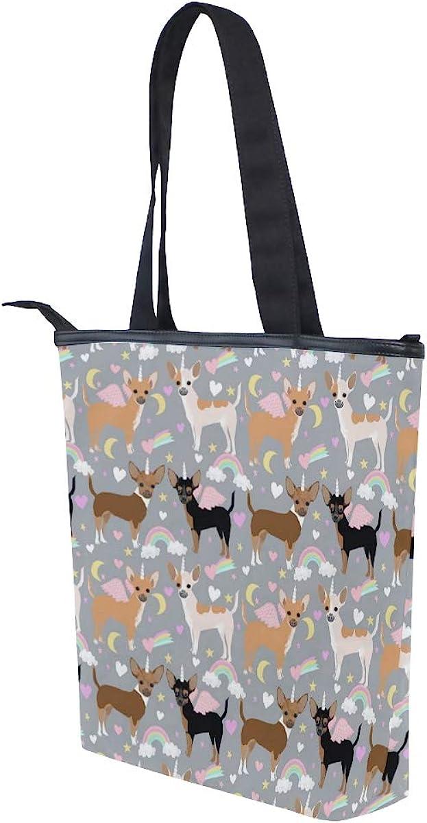 Women Large Tote Top Handle Shoulder Bags Chihuahua Dogs Pastel Unicorn Fabric Satchel Handbag