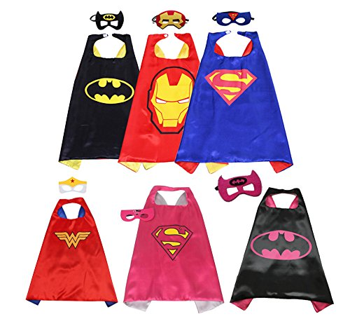 Fieston Express - Comics Cartoon Dress Up Costumes for 3 Boys and 3 Girls - 6 Pieces Double Layer Satin Hero Capes and 3mm Thickness Soft Felt Masks - Perfect (Birthday Themes For 2 Year Old Boy)