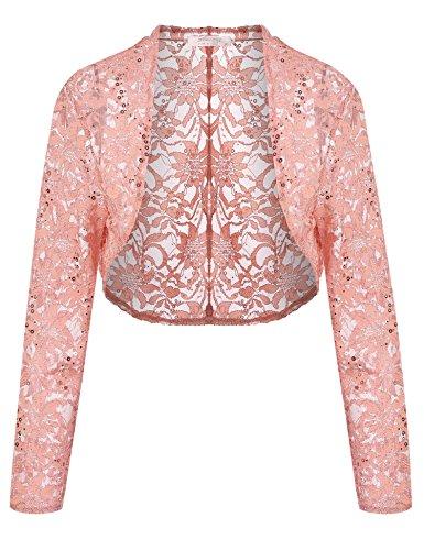 Meaneor Womens Long Sleeves Lace Crochet Bolero Crop Cardigan Shrug Top