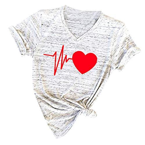 Women's Casual T Shirts【MOHOLL】 Love Print V Neck Short Sleeve Loose T Shirt Blouse Plus Size Tunics Tops - Unity Eternity Candle Set