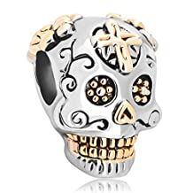 Christmas Gifts Sterling Silver Skull Cross Dia De Los Muertos Charm Beads Fit Pandora Jewelry Bracelet