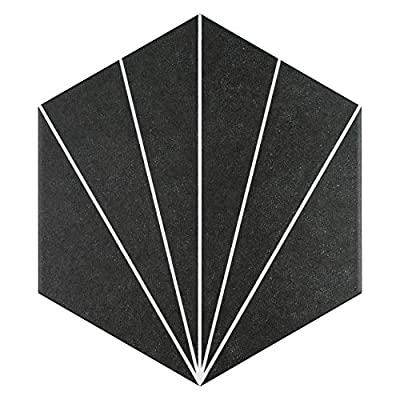"SomerTile FCDASNX Madam Hex Porcelain Floor and Wall, 8.63"" x 9.88"", Nero Tile, 25 Pieces"