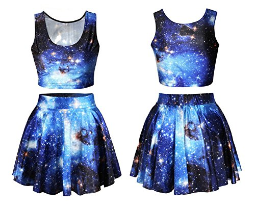 Benibos Womens Digital Print Reversible Crop Top + Skirt 2 Pieces Vintage Clubwear (Blue Galaxy) - Space Outfit