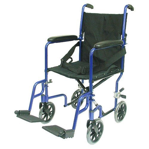 Karman Healthcare LT-2017-BL Folding Aluminum Transport Chair, Blue, 17 Inches Seat Width