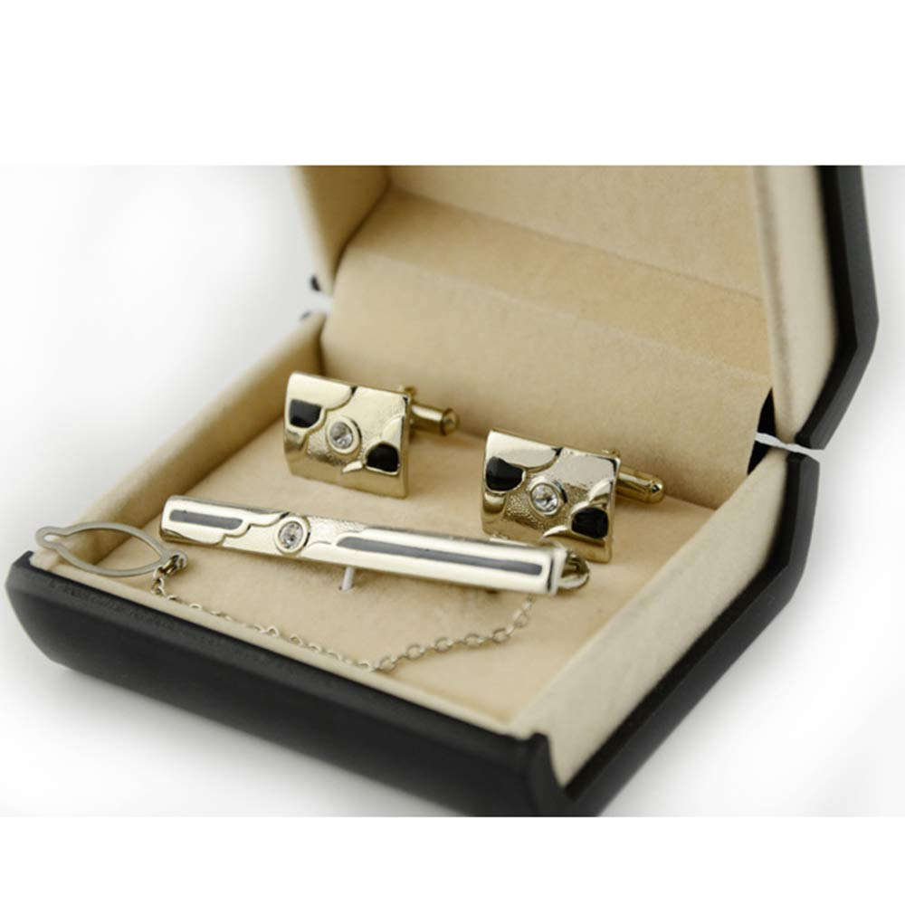 Mens Tie Cufflinks Set Europe and America Gold and Silver Two-Color Diamond Drops Tie Clips Cufflinks Set