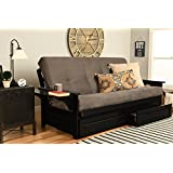 Kodiak Furniture KF Phoenix Full Size Futon in Black Finish with Storage Drawers, Suede Gray