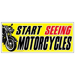 Amazoncom Start Seeing Motorcycles X Bumper Sticker - Custom motorcycle bumper stickers awareness