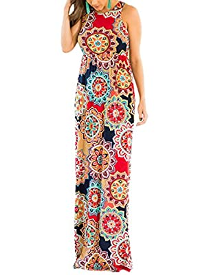 SWQZVT Women's Summer Bohemian Floral Dresses Sleeveless Pockets Racerback Scoop Neck Casual Long Maxi Tank Dress(S-XL)