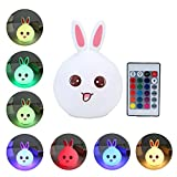 niceEshop(TM) Kids Silicone LED Night Light Lamp with USB Rechargeable Remote Control 7-Color Breathing Modes for Adults Baby Room, Bedroom, Bedside,Nursery,Pink Rabbit
