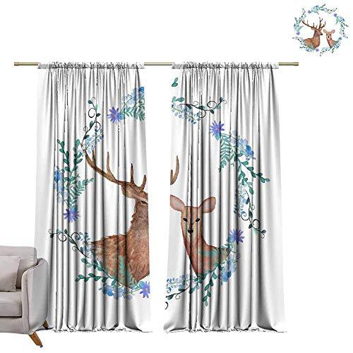 - berrly Blackout Curtain Panels ins elk (1) W108 x L84 Art Grommet Window Drapes