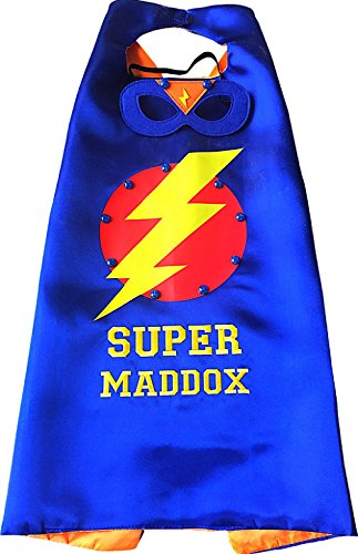 Thimbleful Threads Personalized Lightning Bolt Superhero Cape and Mask Set by (Blue)]()