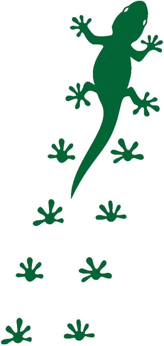Samunshi Gecko Fußabdrücken Aufkleber Gecko Sticker In 8 Größen Und 25 Farben 7 1x15cm Grasgrün Küche Haushalt