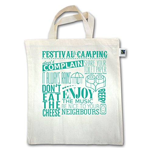 Festival - Festival camping lettering - Unisize - Natural - XT500 - Jutebeutel kurzer Henkel