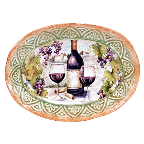 Certified International 25382 Sanctuary Wine Oval Platter, 16.5