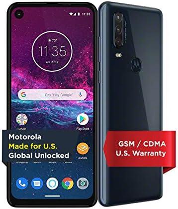 Motorola One Action with Alexa Push-to-Talk - Unlocked Smartphone - Global Version - 128GB - Denim (US Warranty) - Verizon, AT&T, T-Mobile, Sprint, Boost, Cricket, & Metro