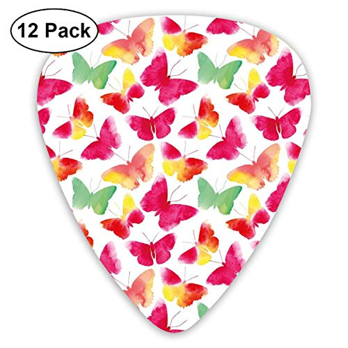 Guitar Picks 12-Pack,Butterfly Silhouettes Nature Abstract Ornate Summer Season - Butterfly Ornate Fish