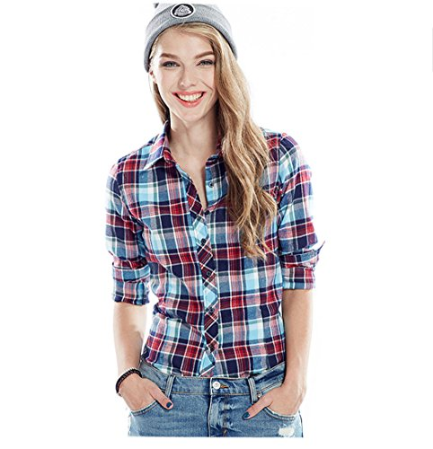 Acvip quadri blu rosso maniche studentessa risvolto Camicia colori Camicia con lunghe 13 a a Capispalla casual lunghe cotone in a maniche 15PRwwHEn