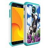 Galaxy j3 2018/J3 Achieve/Express Prime 3/j3 Star/J3 V 3rd Gen 2018/j3 Orbit case,Skyfree Heavy Duty Dual Layer Bumper Protective Phone Case for Samsung Galaxy J3 2018,Colorful Cow