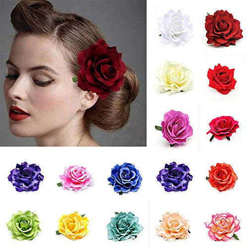 Sapphire Pear Single Pear - Romantic Silk Rose Hair Accessory Flower Hairpin Hair Clip For Prom pink