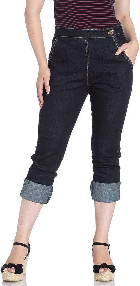 1950s Pants & Jeans- High Waist, Wide Leg, Capri, Pedal Pushers Hell Bunny Charlie Denim Jeans 50s Vintage Retro Capri Trousers 3/4 Pedal Pushers $44.99 AT vintagedancer.com