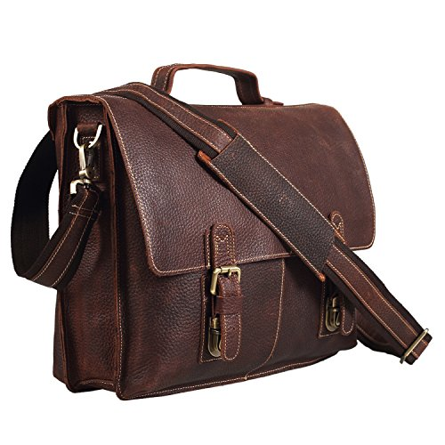 Polare Men's Genuine Leather Professional Messenger Bag Laptop ...