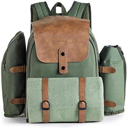 VonShef 4 Personen Abenteuerrucksack - Grüne Khaki Picknick Tasche - ESS-Set für 4 mit Wasserdichter Decke, Bestecksets, Weingläsern aus Kunststoff, Salz- & Pfefferstreuer