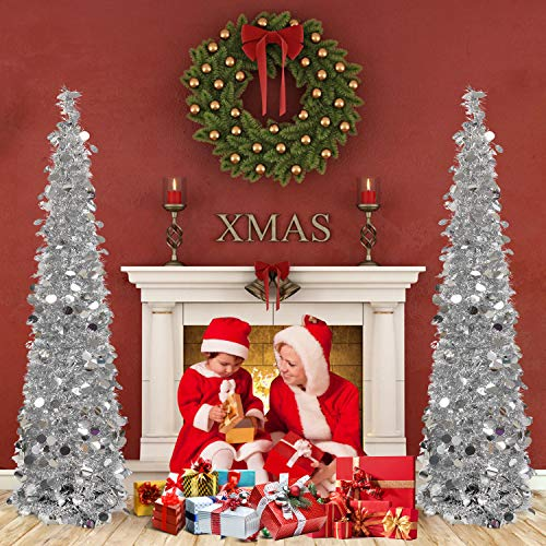 HOHOTIME Sapin Noel Décoration, Tinsel de Noël de Sapin Pliable de 1,5 m, Arbre de Noël Sapin de Noël Décoration Scintillantes Maison Intérieur Extérieur