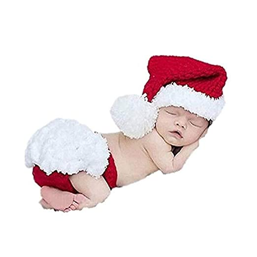 8950f965705b9 Amazon.com  Baby Photography Prop Crochet Christmas Costume Santa Elf Hat  Caps Diaper Knitted Two Piece Outfit Set  Clothing