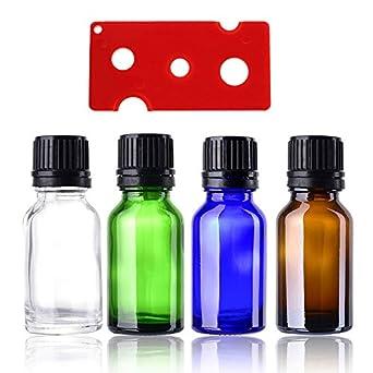 Vial de cristal de 15 ml, mini botellas de ámbar para aceites esenciales, química