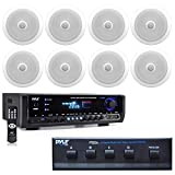 Pyle Digital Home Theater Bluetooth Stereo Receiver, (8) in-Wall/in-Ceiling Dual 8-inch Speakers with 4 Channel Speaker Selector