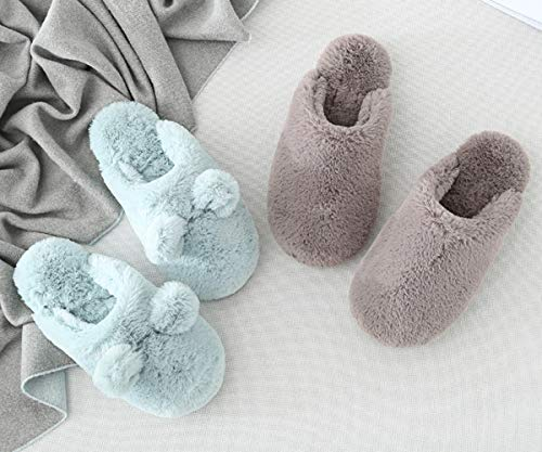 Chaussons outdoor Indoor Peluche Chaussures A Coton Automne Couple Femme Pantoufles Hiver Unisexe Homme Femme pour Minetom Slippers Bleu YX7OO