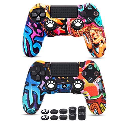 6amLifestyle Funda Protectora Antideslizante de Silicona para Mando PS4, Carcasa para Sony PS4 / PS4 Pro / PS4 Slim Controller (Pintada 2 Fundas de Mando PS4 10 Thumb Grips PS4)