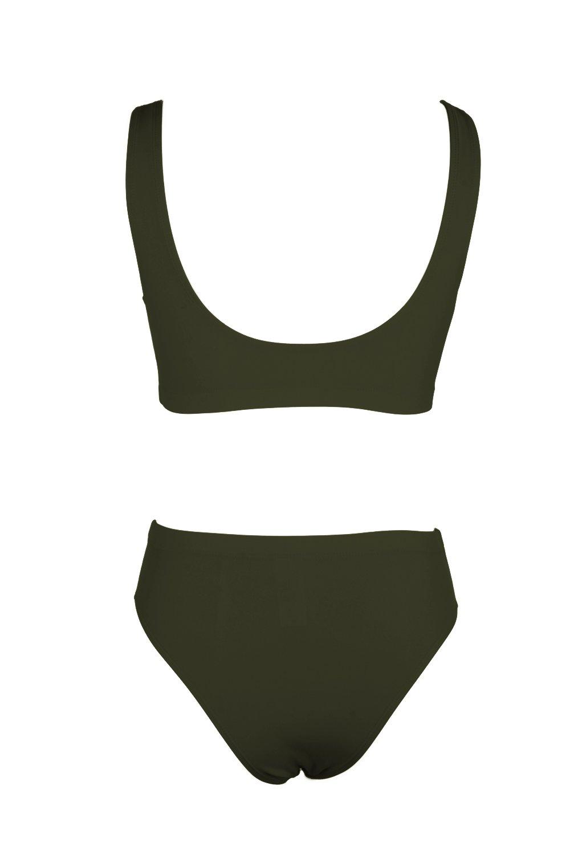 KAKALOT Women's Sexy Scoop Neck Crop Top with High Cut Bikini Bottom Sets Beachwear L Army Green by KAKALOT (Image #5)