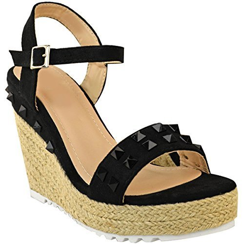 Fashion Thirsty Heelberry® Womens Ladies Espadrille Wedge Studded Sandals High Heels Summer Strappy Shoes Black Faux Suede iYcYqF