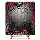 Red and Black Shower Curtain Riyidecor Red Black Shower Curtain Free Metal Hooks 12-Pack Leaf Swirl Floral Modern Forest Heavy Duty Decor Fabric Set Polyester Waterproof Fabric Bathtub 72x72 Inch