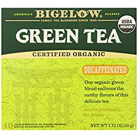 Bigelow Decaffeinated Organic Green Tea, 40 Count Box 61 CAFFEINE-FREE GREEN TEA: Treat your body to the health benefits of antioxidant-packed organic green tea and your tongue to its fresh delicate flavor. Each sip is a celebration every cup an act of self care. Take a decaffeinated tea break just for you. GREEN & BRIGHT: Green tea is a more delicate brew, and our decaffeinated blends are a treat any time of day. Include it in your healthy lifestyle. Gluten -free, calorie-free, & Kosher certified; Bigelow tea delivers on all the health benefits of tea. TRY EVERY FLAVOR: There's a Bigelow Tea for every mood and every time of day. Rise and shine with English Breakfast, smooth out the day with Vanilla Chai, get an antioxidant boost from Green Tea, or relax & restore with one of our variety of herbal teas.
