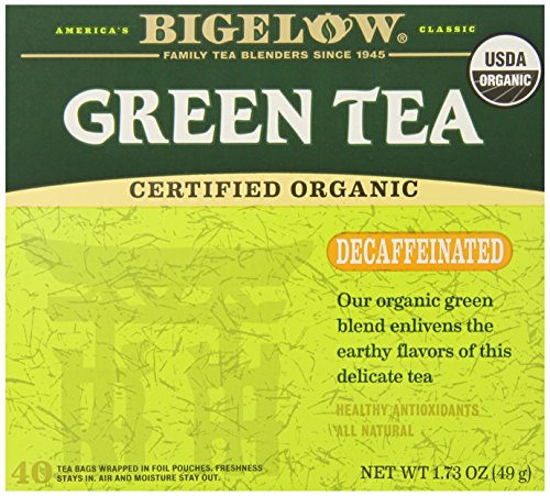 Bigelow Decaffeinated Organic Green Tea Bags 40-Count Box  Decaffeinated Individual Organic Green Tea Bags, for Hot Tea or Iced Tea, Drink Plain or Sweetened with Honey or Sugar (Best Time To Have Green Tea)