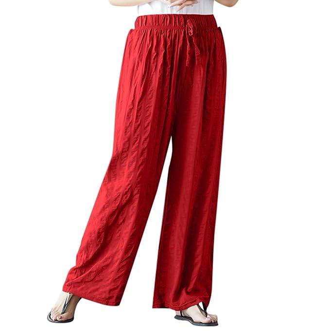 Amazon.com: Usstore - Pantalón de lino y algodón para mujer ...