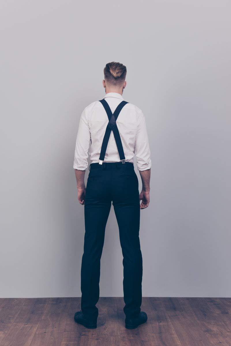 Brooben Men Suspenders 3 Clips Adjustable Elastic Braces Y Back Heavy Duty Strong Clip 001 Black