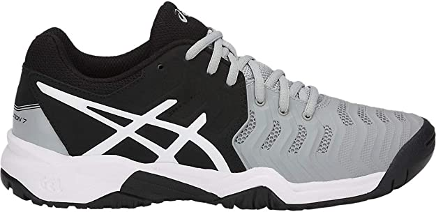 ASICS Kid's Gel-Resolution 7 GS Tennis Shoes, 4M, MID Grey/Black/White