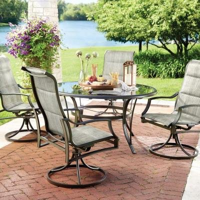 (Statesville 5-Piece Padded Sling Patio Dining Set with 53 in. Glass)