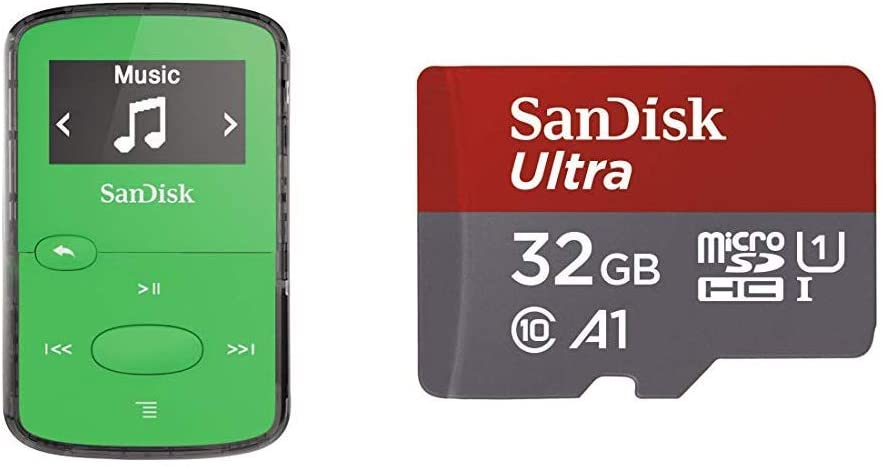 SanDisk 8GB Clip Jam MP3 Player, Green - MicroSD Card Slot and FM Radio - SDMX26-008G-G46G & Ultra 32GB MicroSDHC UHS-I Card with Adapter - 98MB/s