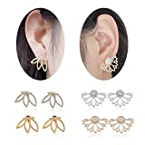 Jesries 4 Pairs Jewelry Silver and Gold Lotus Flower Earrings Ear Jacket Stud Best Gift for Women Girls