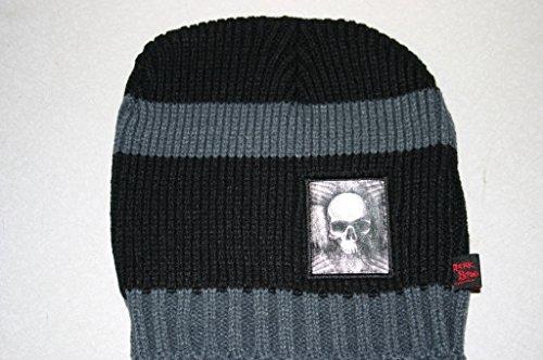 Skull Cap 'Black & White Stripes w/Skull Patch'